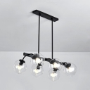 Globe Restaurant Hotel Island Light Amber/Clear/Smoke Glass 6/8 Bulbs Island Chandelier in Black