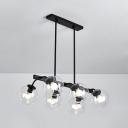 Globe Restaurant Hotel Island Light Amber/Clear/Smoke Glass 6/8 Bulbs Island Chandelier in Black