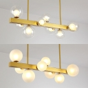 Elegant Gold Finish Island Pendant Linear & Orb 8 Lights Metal Island Chandelier for Dining Room