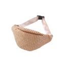 Summer Fashion Solid Color Straw Large Capacity Beach Bag Crossbody Belt Bag 32*16.5 CM