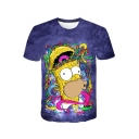Unique Funny Cartoon Comic Character Printed Round Neck Short Sleeve T-Shirt