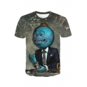 Funny Cartoon Comic Blazer Character 3D Printed Round Neck Short Sleeve Grey T-Shirt