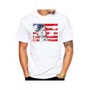 Independence Day Flag Printed Mens Basic Round Neck Short Sleeve White T-Shirt