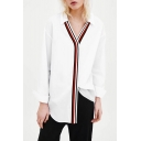 Womens Classic White Striped Print Long Sleeve Casual Poplin Shirt Blouse