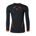 Stylish Contrast Piping Basic Round Neck Long Sleeve Outdoor Training Quick Drying Tight T-Shirt
