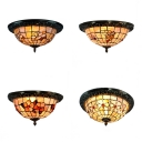 Butterfly/Flower/Hollow/Magnolia Flush Ceiling Light Antique Tiffany Stained Glass Ceiling Lamp for Bedroom
