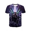 Summer Cool Darth Vader 3D Character Printed Short Sleeve Purple T-Shirt