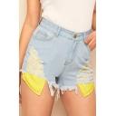 Unique Exposed Pocket Distressed Ripped Frayed Hem Light Blue Denim Shorts