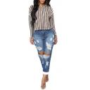 Womens Vintage Destroyed Ripped Hole Blue Regular Fit Denim Jeans