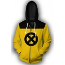 Comic X Circle Printed Yellow Long Sleeve Drawstring Zip Up Hoodie