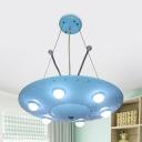 Boys Girls Bedroom UFO Pendant Light Metal 6 Lights Long Life Blue Pendant Lamp with Antenna