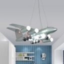 Multi Bulb LED Pendant Light Modern Style Metal Hanging Light in Silver for Teen Study Room