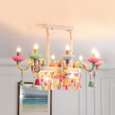 Restaurant Candle Celilng Hanging Resin 10 Lights Macaron Loft Multi-Color Pendant Light with Bell