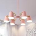 Child Bedroom Metal Chandelier Metal 6 Lights Macaron Stylish Pink Hanging Light