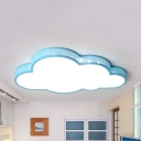 Blue/White Hollow Cloud Ceiling Light Cute Acrylic Blue/White Flush Mount Light with Warm/White Lighting for Bedroom