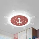 Blue/Pink/Yellow Rudder Ceiling Mount Light Nautical Stylish Acrylic Warm/White Flush Light for Game Room