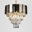 Stainless Steel Cone Chandelier with Glittering Crystal Postmodern Hanging Light for Swirl Stair