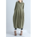 Womens Vintage Simple Plain Cowl Neck Long Sleeve Maxi Linen Lantern Dress