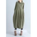 Womens Vintage Simple Plain Cowl Neck Long Sleeve Maxi Linen Lantern Dress