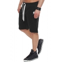 Men's Simple Fashion Lightning Logo Print Drawstring Waist Loose Fit Casual Sport Sweat Shorts
