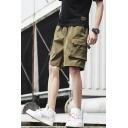 Summer Trendy Plain Drawstring Waist Rivet Ribbon Embellishment Casual Loose Cargo Shorts