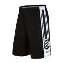 Summer Trendy Contrast Patched Side Elastic Waist Black Casual Loose Running Sport Shorts