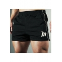 Summer Trendy Logo Printed Contrast Topstitch Elastic Waist Sport Training Shorts