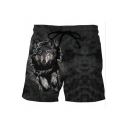 Popular Fashion 3D Wolf Printed Drawstring Waist Black Summer Beach Swim Trunks