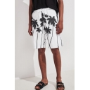 Summer Trendy Coconut Tree Printed Drawstring Waist Quick-Drying Beach Swim Trunks