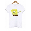 New Fashion Funny Cartoon Print Basic Short Sleeve White T-Shirt