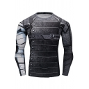 Mens Cool 3D Pattern Basic Round Neck Long Sleeve Sport Slim Fitness Quick Dry T-Shirt