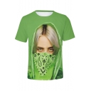 Cool Funny 3D Green Figure Printed Round Neck Short Sleeve Regular Fit T-Shirt