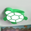 Kids Candy Colored Ceiling Fixture Turtle Metal Warm/White Lighting LED Flush Light for Kindergarten