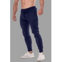 Basic Simple Solid Color Drawstring Waist Slim Fit Casual Sports Joggers Sweatpants