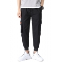 Men's Fashion Letter Printed Ribbon Embellishment Drawstring Waist Casual Cargo Pants