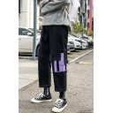 New Stylish Colorblock Multi-pocket Design Cotton Straight Loose Cargo Pants for Men