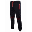 Hot Fashion Contrast Detail Drawstring Waist Casual Sports Joggers Cotton Sweatpants for Men