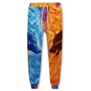Hot Fashion Popular 3D Wolf Fox Fire Printed Blue and Yellow Casual Joggers Sweatpants