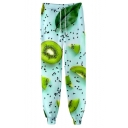 Trendy Creative 3D Fruit Printed Drawstring Waist Casual Joggers Sweatpants