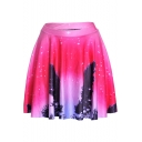 Stylish Red Starry Galaxy Printed High Rise Mini A-Line Pleated Skater Skirt