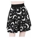 Girls Punk Style Black Moon Sun Star Printed High Rise Mini A-Line Flared Skirt