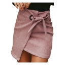Womens Fashion Simple Solid Color Bow-Tied Side Zipper Back Mini Asymmetrical Wrap Skirt