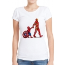 Popular Comic Figure Printed Round Neck Short Sleeve White Tee