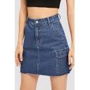 Fashion Cool Flap Pocket Side Frayed Hem Blue Mini Bodycon A-Line Denim Skirt