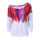 Trendy Colorful Feather Painting One Shoulder Long Sleeve White Sweatshirt