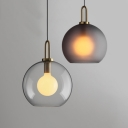 Clear/Smoke Glass Spherical Hanging Pendant Post Modern 1 Bulb Mini Drop Light for Kitchen Dining Room