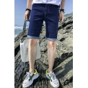 Men's Fashion Letter Printed Rolled Cuffs Zip-fly Slim Fit Denim Shorts