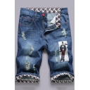 Summer Trendy Ghost Print Patched Ripped Detail Rolled Cuffs Blue Zip-fly Denim Shorts for Men