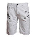 Popular Fashion Stars Printed Ripped Detail Zip-fly Casual Denim Shorts for Men