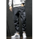 Men's Trendy Letter SUPER Printed Rolled Cuffs Black Loose Fit Black Tapered Jeans